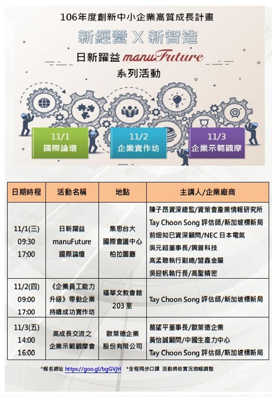 2017創新中小企業高質成長計畫 日新躍益manufuture國際論壇