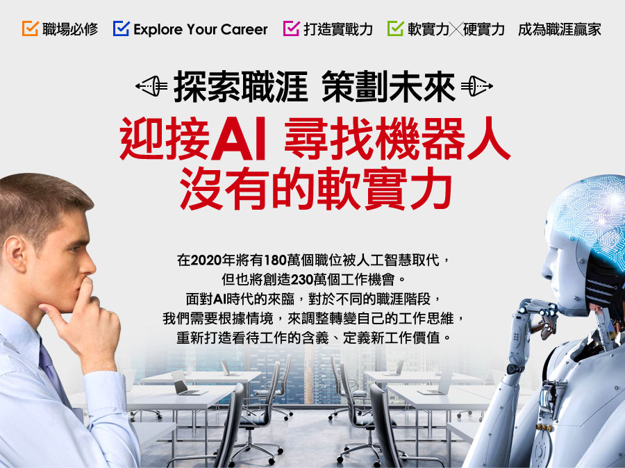 探索職涯 策劃未來-迎接AI尋找機器人沒有的軟實力